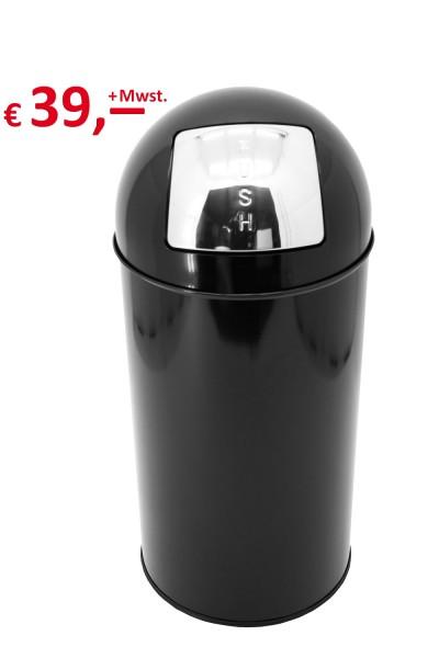 PUSH-Abfallsammer - 40 Liter - pulverbeschichtetes Stahlblech - selbstschließende Edelstahlklappe-Co