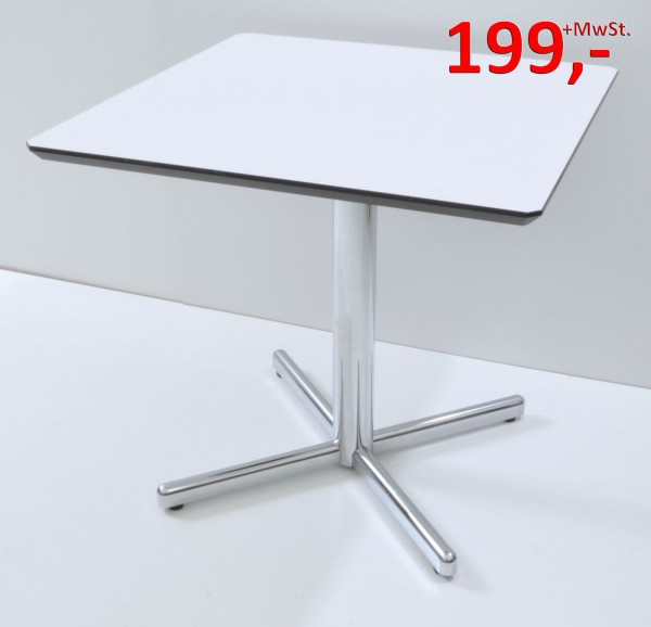 Besprechungstisch - 80 x 80 cm - weiß/Chrom - Svoboda