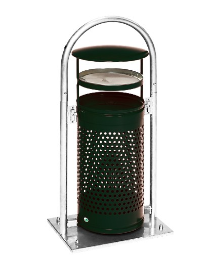 Außen-Abfallsammler - mit Rohrbogen, Dach und Ascher - abschließbar - mit Aschereinsatz - moosgrün