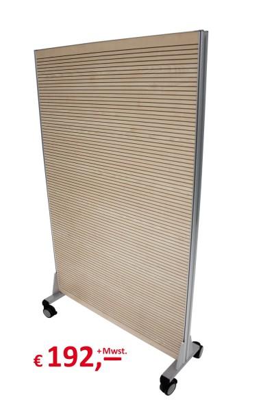 Trennwand / Schallschutzwand mit Rollen - 162 x 100 cm, Ahorn - Serie 2000