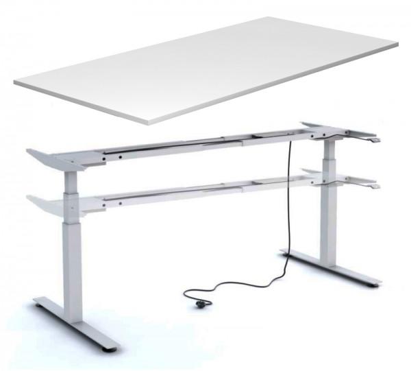 Schreibtisch 160 cm, elektrisch höhenverstellbar - Heyne-Ergo-Aktiv - lichtgrau/silber