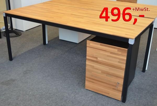 Andiamo Schreibtisch 200 cm - Rechteckplatte mit 4-Fuß, Nussbaum/schwarz - Reinhard