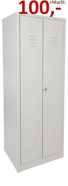 Spind / Kleiderspind - 2 Abteile, Schwarz-Weiss-Trennung - lichtgrau