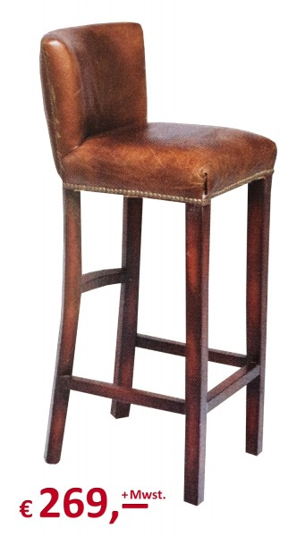 "Kare Design - Barhocker - ""Cigar Lounge"" - Leder braun"