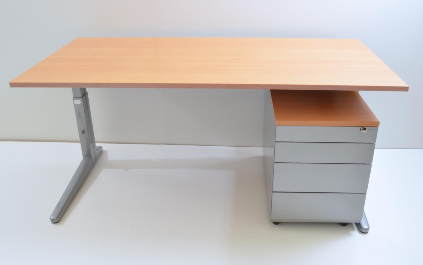 Schreibtisch 160 Cm Mit Rollcontainer Buche Dekor Silber