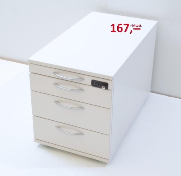 Rollcontainer - 4 Schubladen, Zahlenschloss - lichtgrau - Haworth