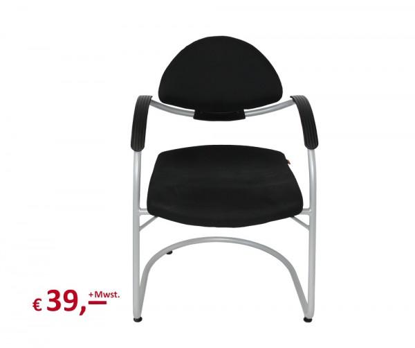 SITAG - Besucher- oder Konferenzstuhl - Stoff: schwarz - Gestell: alusilber