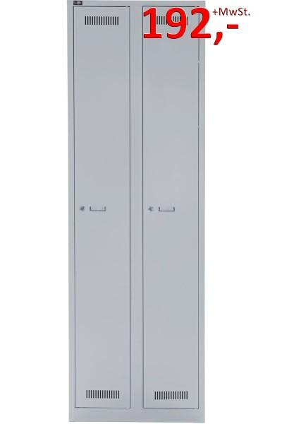 Bisley Light Garderobenschrank GL06D1245, 2 Abteile, lichtgrau