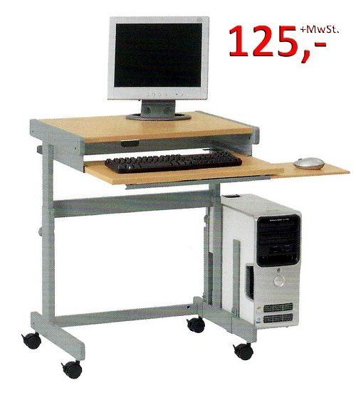 PC-Tisch Euro HF - höhenverstellbar, Buche hell / silbermetallic - Vielhauer