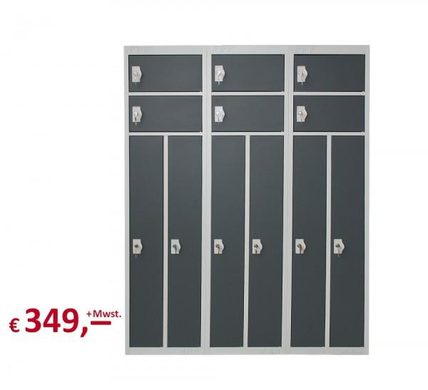Spind / Schließfachschrank - 6 Abteile - lichtgrau/basaltgrau - abschließbar - originalverpackt-Copy