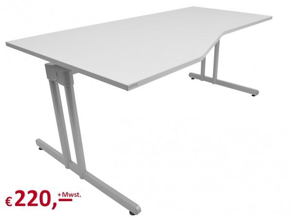 Vielhauer - System-Komfort Schreibtisch - Platte: weißgrau - Gestell: silbermetallic