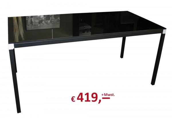 Reinhard - Schreibtisch - Platte: Glas schwarz - Gestell: schwarz - 160 x 80 cm
