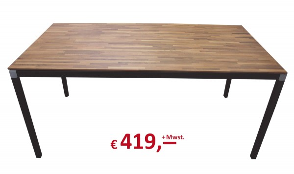 Reinhard - Schreibtisch - Platte: Massivholz Nussbaum - Gestell: schwarz - 160 x 80 cm