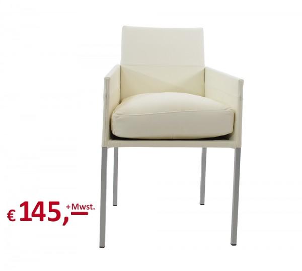 Designmöbel - Estucado Besucherstuhl mit Armlehnen - Konferenzstuhl - Bezug Leder