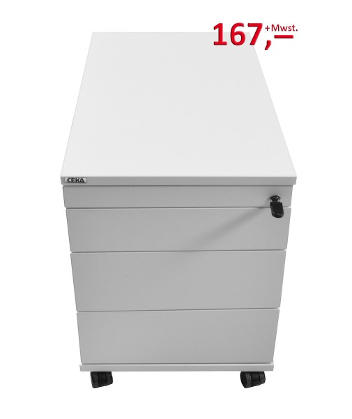 Rollcontainer - 4 Schubladen, Zahlenschloss - lichtgrau - Haworth-Copy