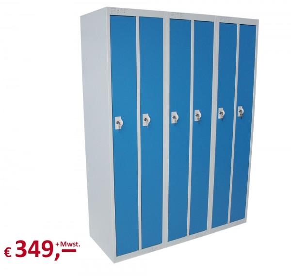 Spind / Schließfachschrank - 6 Abteile - lichtgrau/blau - abschließbar - originalverpackt
