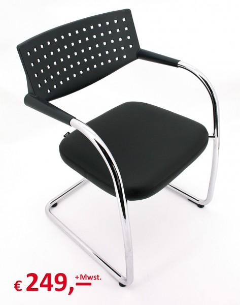 visavis Konferenzstuhl - Besucherstuhl - Freischwinger - Echtleder Sitz-Copy