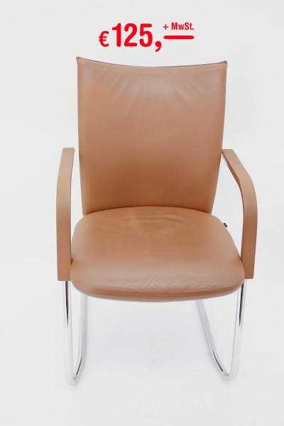 Fröscher - Freischwinger - Pharao - beige/hellbraun - Leder - Sitz-/Rücken gepolstert - Retro-Optik