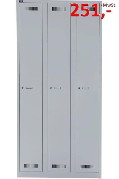 Bisley Light Garderobenschrank GL09T1245, 3 Abteile, lichtgrau