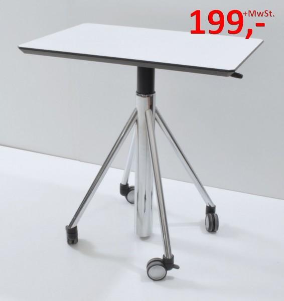 Besprechungstisch - Flextable, auf Rollen - 80 x 55 cm - weiß/Chrom - Svoboda