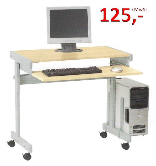 PC-Tisch Maxi F - höhenverstellbar, lichtgrau / silbermetallic - Vielhauer