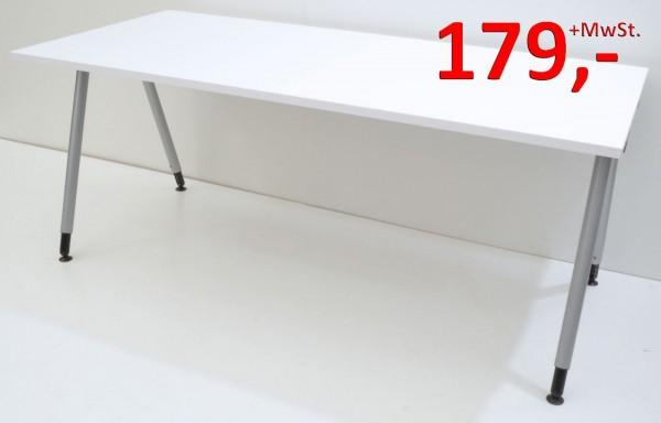 Schreibtisch - 180 cm, höhenverstellbar - weiß / silber - König + Neurath / Heyne