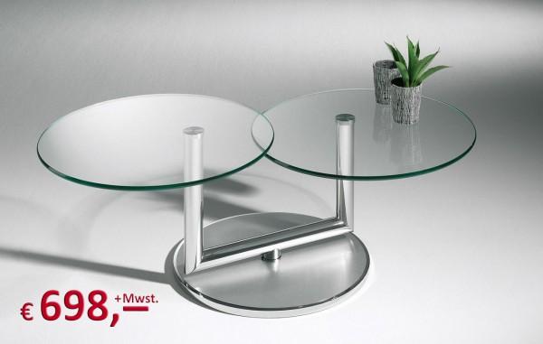 Couchtisch 2tlg. - 2 Platten rund drehbar mit Klarglas - Sockel Chrom Edelstahl - Hasse Kiel - origi