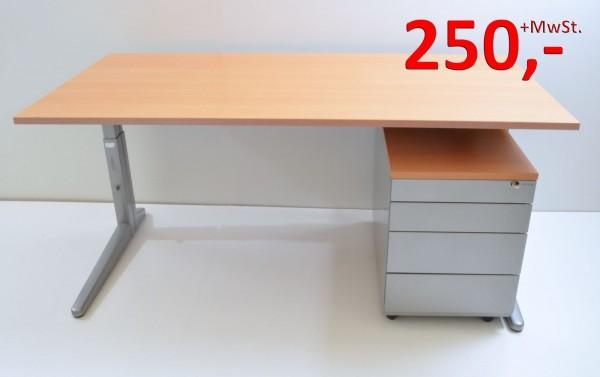 Schreibtisch - 160 cm - mit Rollcontainer - Buche Dekor, silber - Ahrend