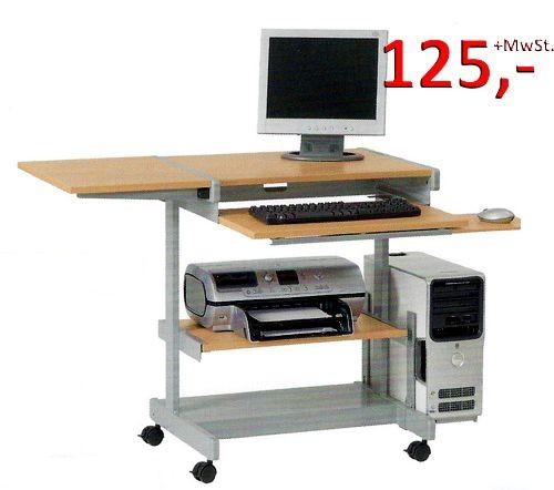 PC-Tisch Euro - Buche hell / silbermetallic - Vielhauer