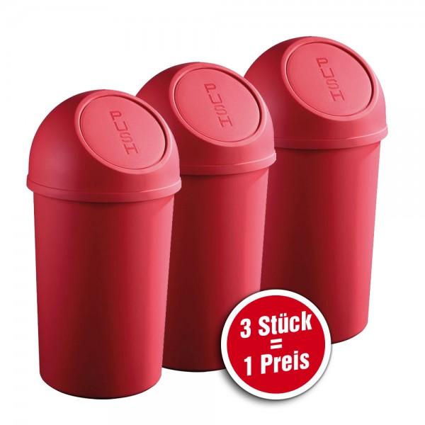helit Push-Abfallbehälter aus Kunststoff, 3 Stück = 1 Preis