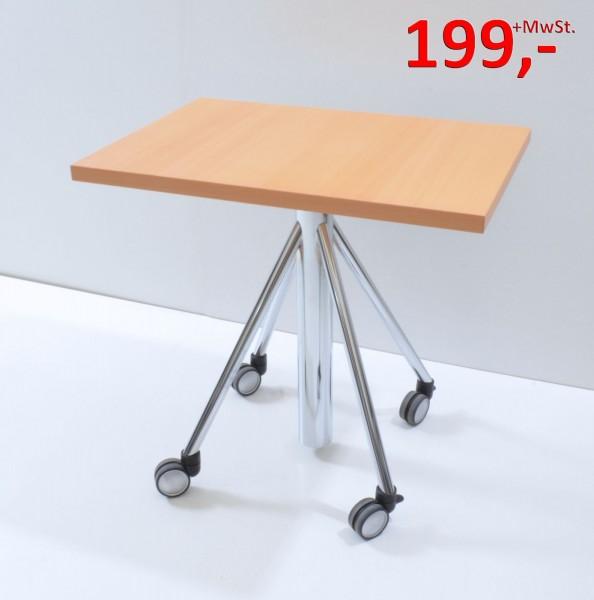 Besprechungstisch - Flextable, auf Rollen - 80 x 55 cm - Buche/Chrom - Svoboda