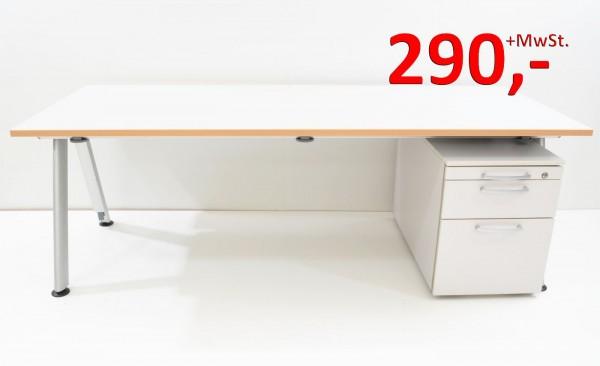 Schreibtisch - 200 cm - weißgrau - mit Rollcontainer - Haworth / dyes