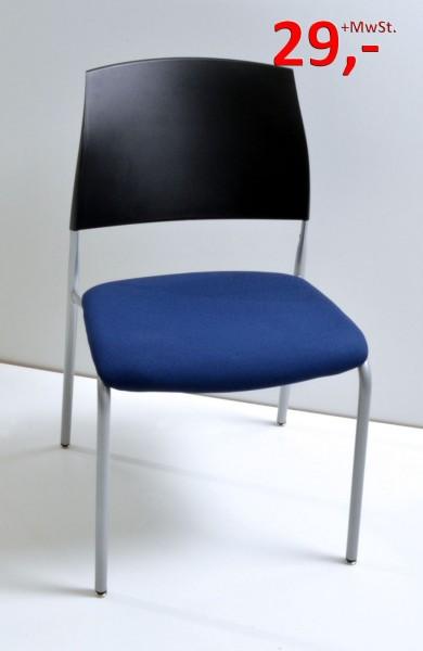 Konferenzstuhl - schwarz/blau - Drabert