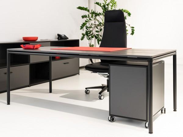 Bosse - Schreibtisch - S-Desk - 200 x 90 cm - höhenvertellbar - Platte: Echtholz Hazienda schwarz
