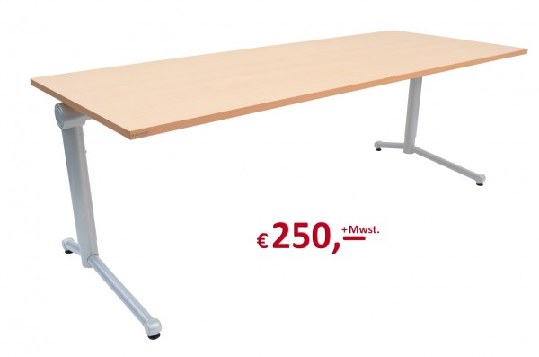 Vielhauer - System-Komfort Schreibtisch - Platte: Buche Dekor - Gestell: silbermetallic