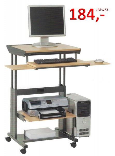 PC-Tisch Plus Junior F - höhenverstellbar, Buche hell / silbermetallic - Vielhauer