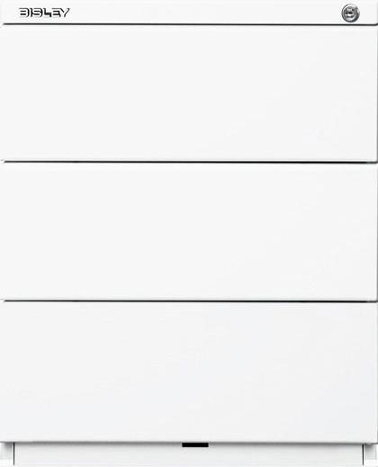 Rollcontainer, 3 à Schubladen 150 mm, 25 mm Abdeckplatte, verkehrsweiß