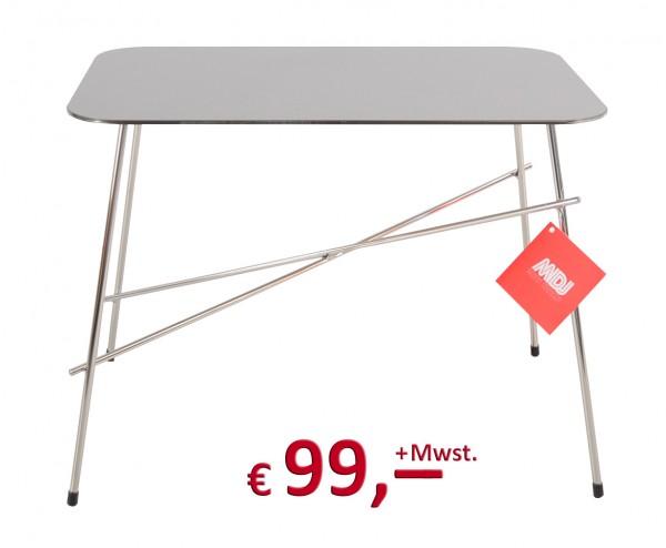Janet Beistelltisch - Gestell Rundstahl verchromt - Tischplatte mit satinierter Edelstahlauflage