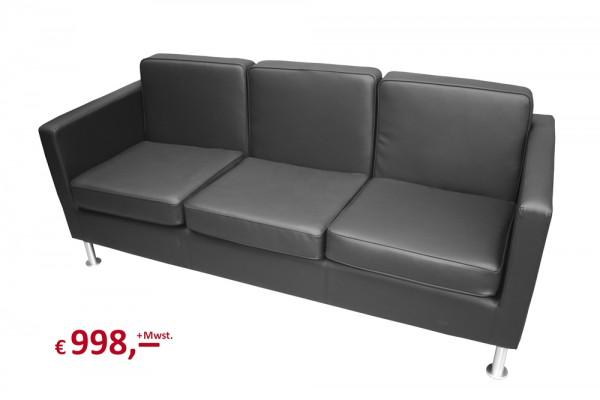 Sitzgarnitur - 3-Sitzer - für Empfang oder Besprechnungsecke - teilweise originalverpackt