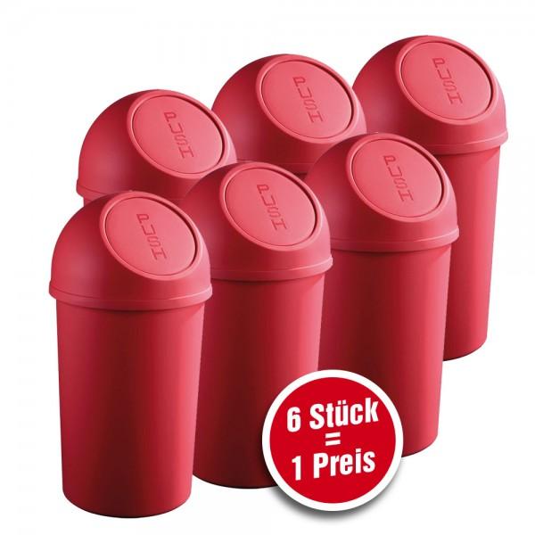 helit Push-Abfallbehälter aus Kunststoff, 6 Stück = 1 Preis