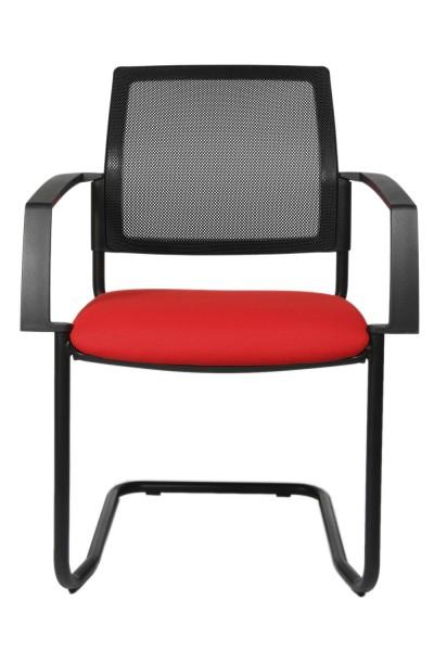 Topstar - Polster-Stapelstuhl, stapelbar, rot, Freischwinger, Gestell schwarz