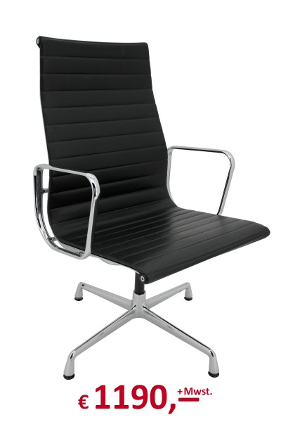 Alu-Chair EA 119 - Ray & Charles Eames - drehbar - Leder schwarz