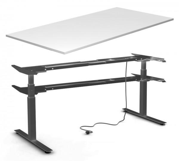Schreibtisch 160 cm, elektrisch höhenverstellbar - Heyne-Ergo-Aktiv - lichtgrau/schwarz