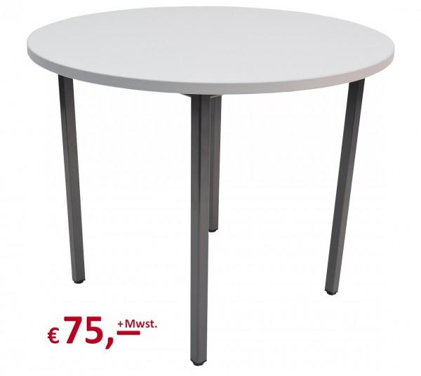 Vielhauer - Beistelltisch - rund - Dekor: office-grau - Gestell: Vierkant-Stahlrohr