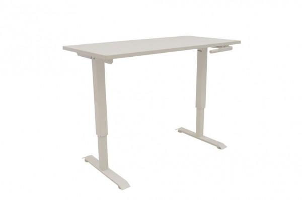 Schreibtisch, manuell höhenverstellbar mit Kurbel, Farbe weiß