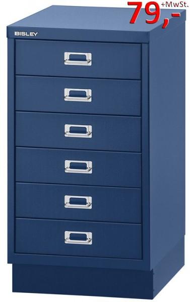 Bisley Schubladenschrank DIN A3, 6-Schubladen, mit Sockel, blau - Neuware