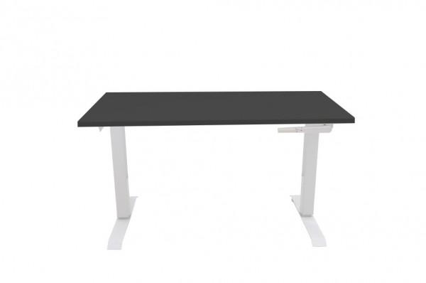 Schreibtisch, manuell höhenverstellbar mit Kurbel, Platte schwarz