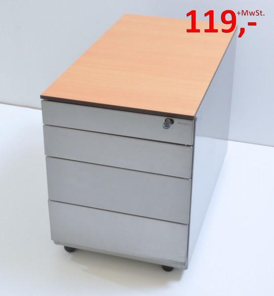 Rollcontainer - 3 Schubladen - silber, Vollkern-Deckplatte (HPL) Buche Dekor - Ahrend