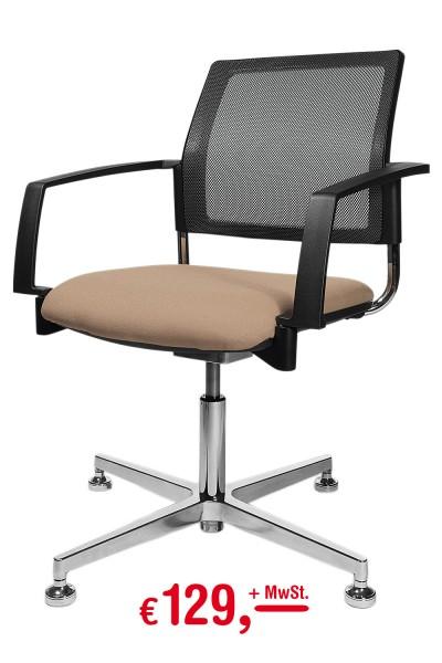 Topstar Polster-Drehsessel - braun - mit beweglichem Sitzgelenk (3D-Box)