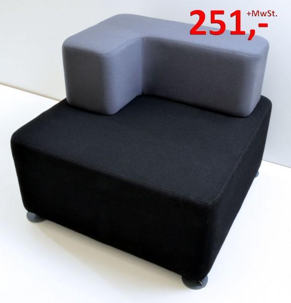 B Free Lounge Würfel - Sessel, rechts - schwarz/grau